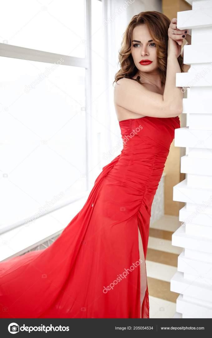 beautiful brunette woman red dress fashion beauty portrait