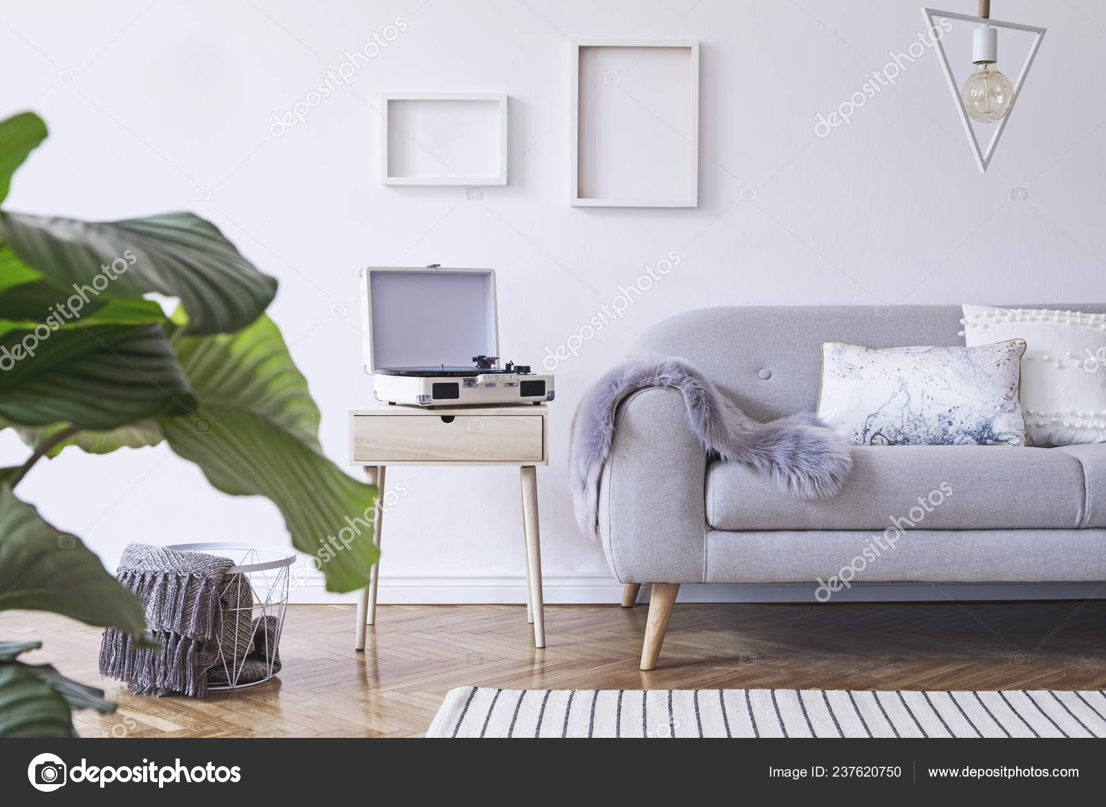 Partial View Light Living Room Grey Sofa Scandinavian Style Stock Photo C Followtheflow 237620750