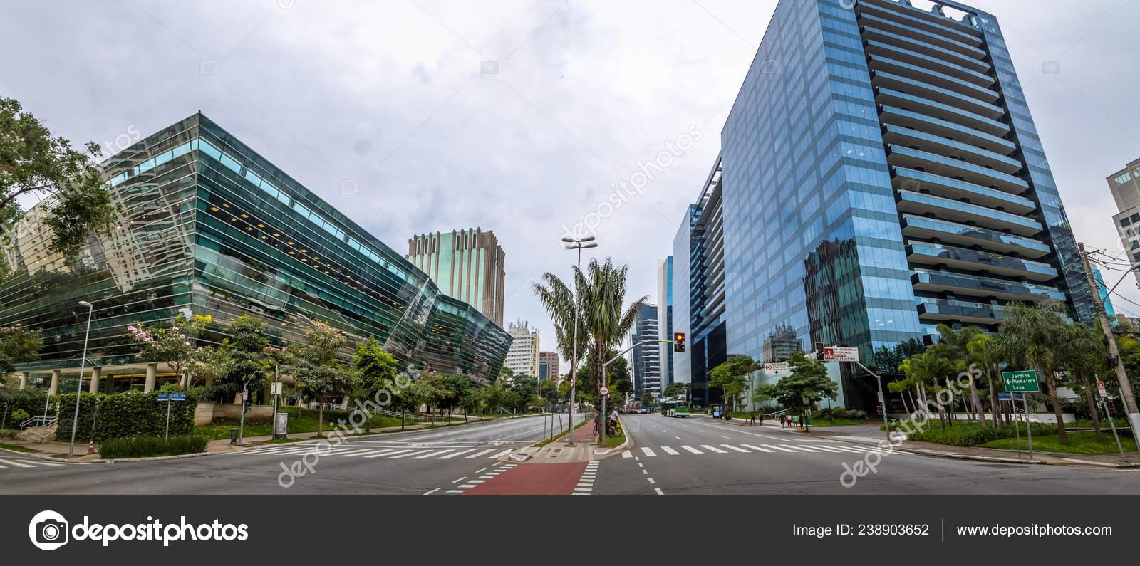 Panoramic View Buildings Faria Lima Avenue Sao Paulo