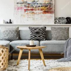 Living Room Paint Grey Couch Images Of Side Tables Painting Boho Interior Wooden Table Pouf Stock Photo