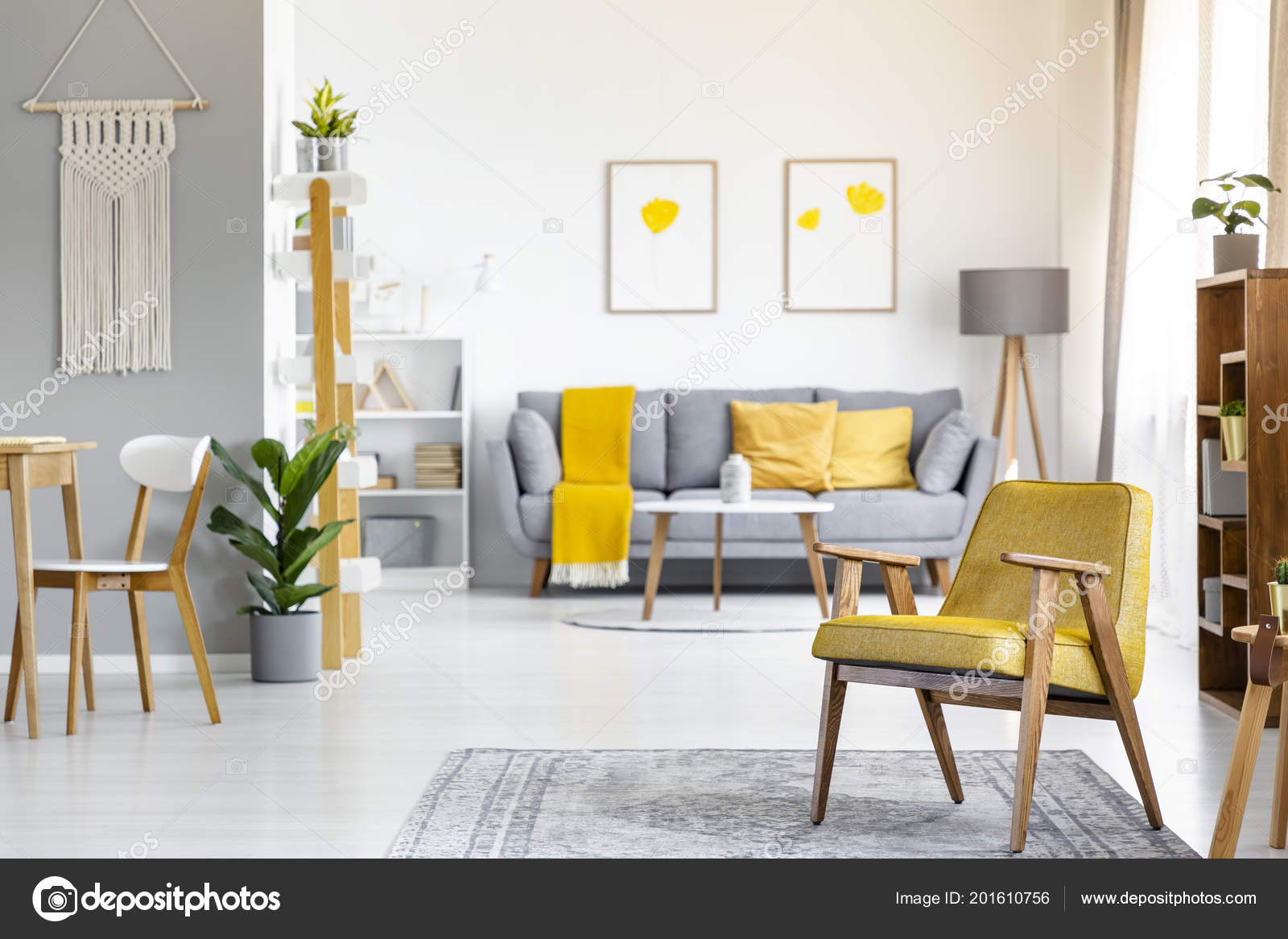 Grey And Yellow Chair Yellow Armchair Rug Plant Open Space Interior Posters Grey Couch