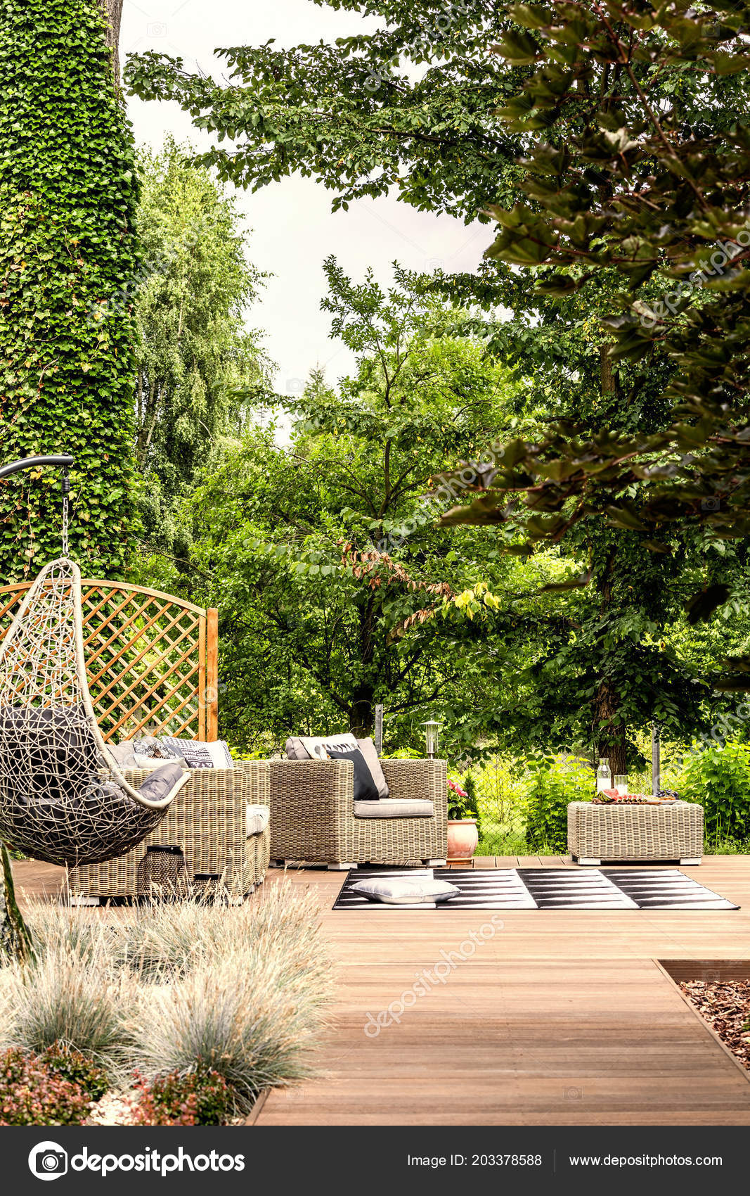 hanging chairs garden furniture kids outdoor lounge chair terrace trees summer real photo stock