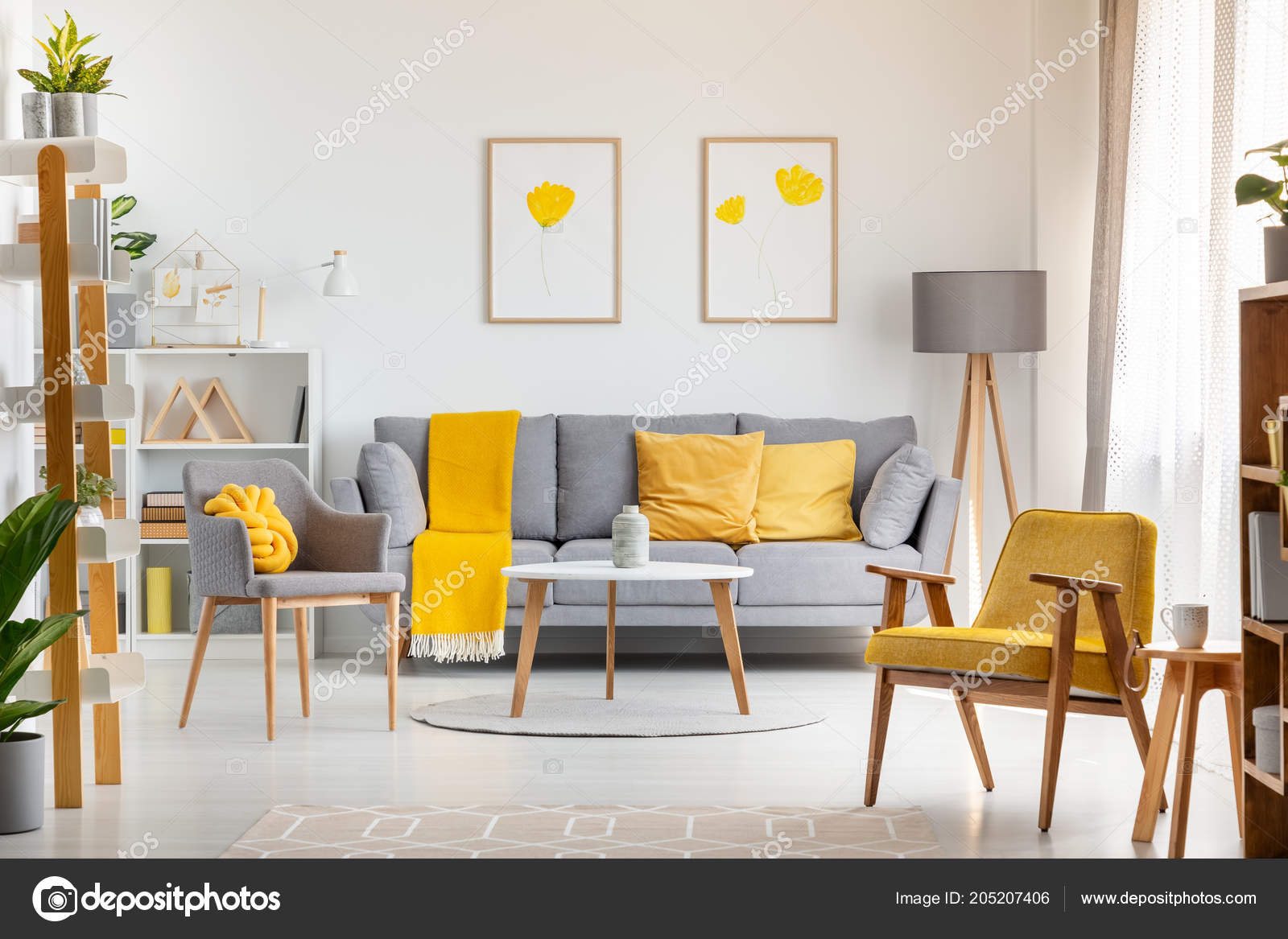 Yellow Living Room Chair Armchairs Table Grey Yellow Living Room Interior Posters Sofa Real