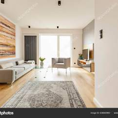 Living Room Rug With Grey Couch Furniture For Front View Modern Interior Vintage Stock Photo