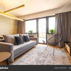 Grey Sofa Living Room Carpet Wall Murals Armchair Bright Interior Balcony Real Stock Photo