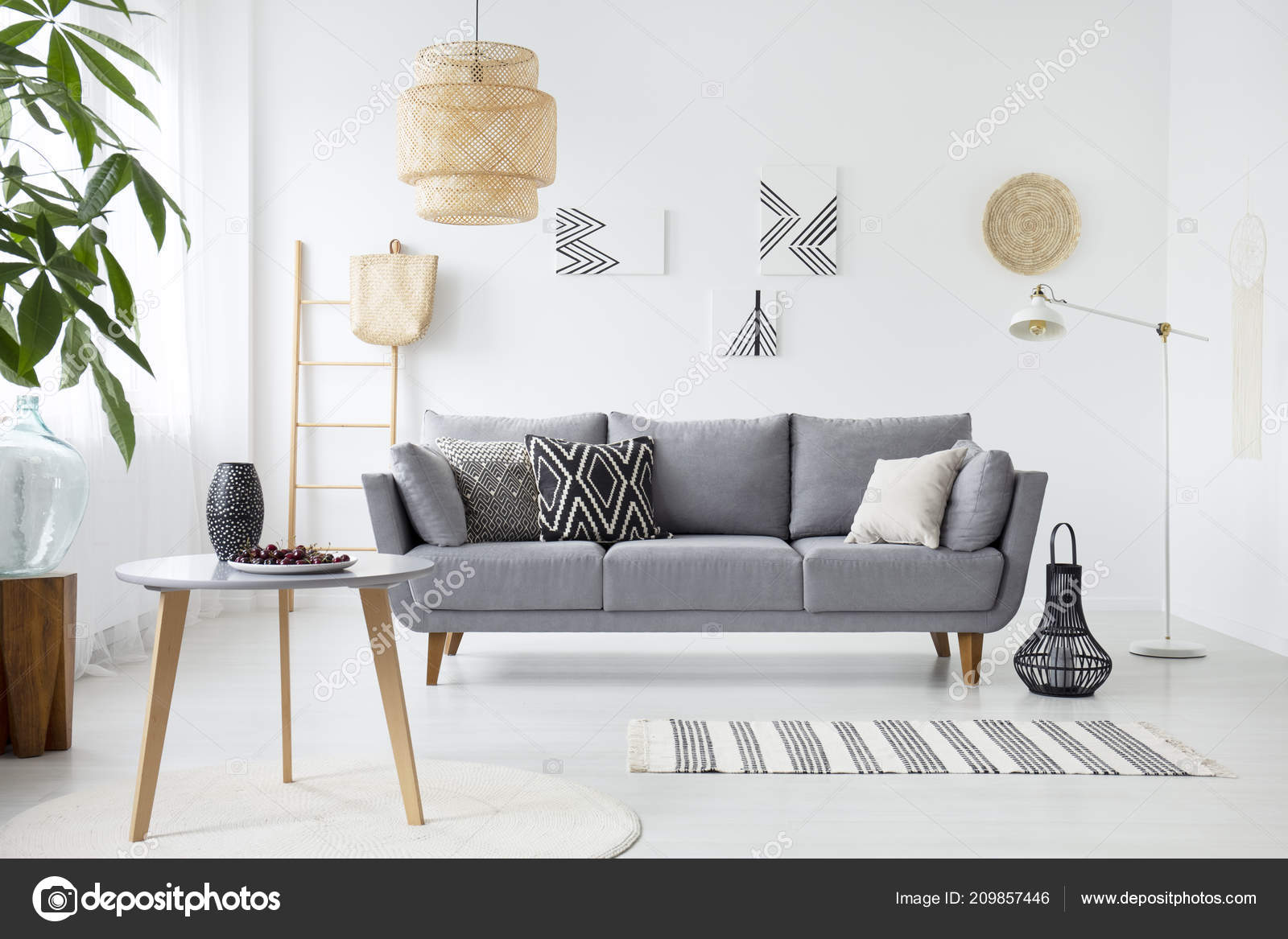 living room cushions ideas for a large wall real photo simple interior gray sofa paintings stock