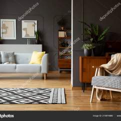 Grey Sofa Living Room Carpet Setup Ideas For Small Blanket Armchair Interior Patterned Posters Stock Photo