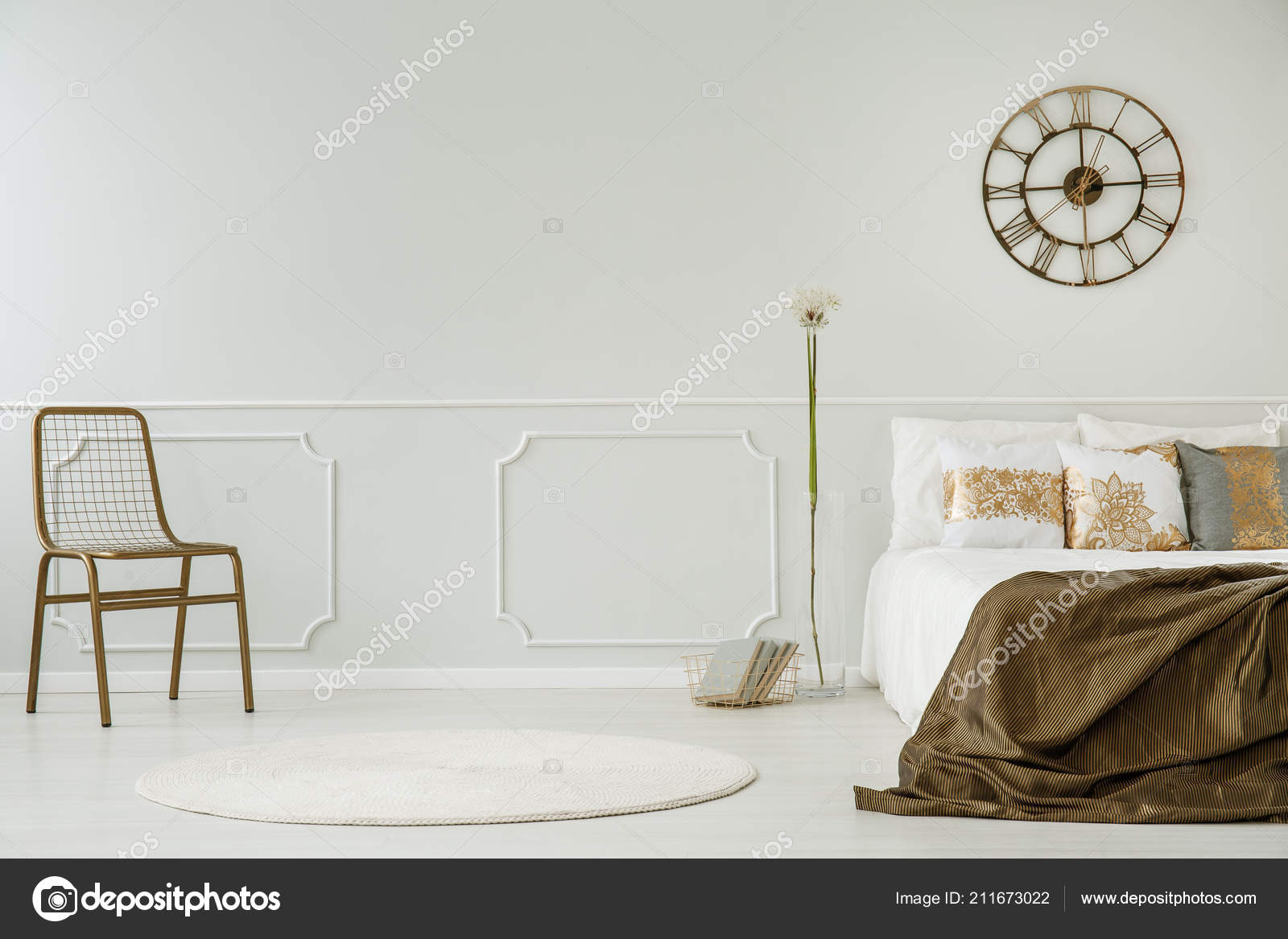 bedroom chair with blanket french dining chairs melbourne gold clock bed white interior dandelion real stock photo
