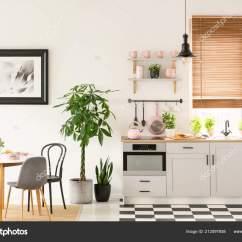Pink Kitchen Rug Cooking Oil Container Supplies 真实照片的明亮的厨房内部与棋盘地板粉彩粉红色配件新鲜植物和餐桌上的 真实照片的明亮的厨房内部与棋盘地板 粉彩粉红色配件 新鲜植物和餐桌上的地毯 照片作者photographee Eu