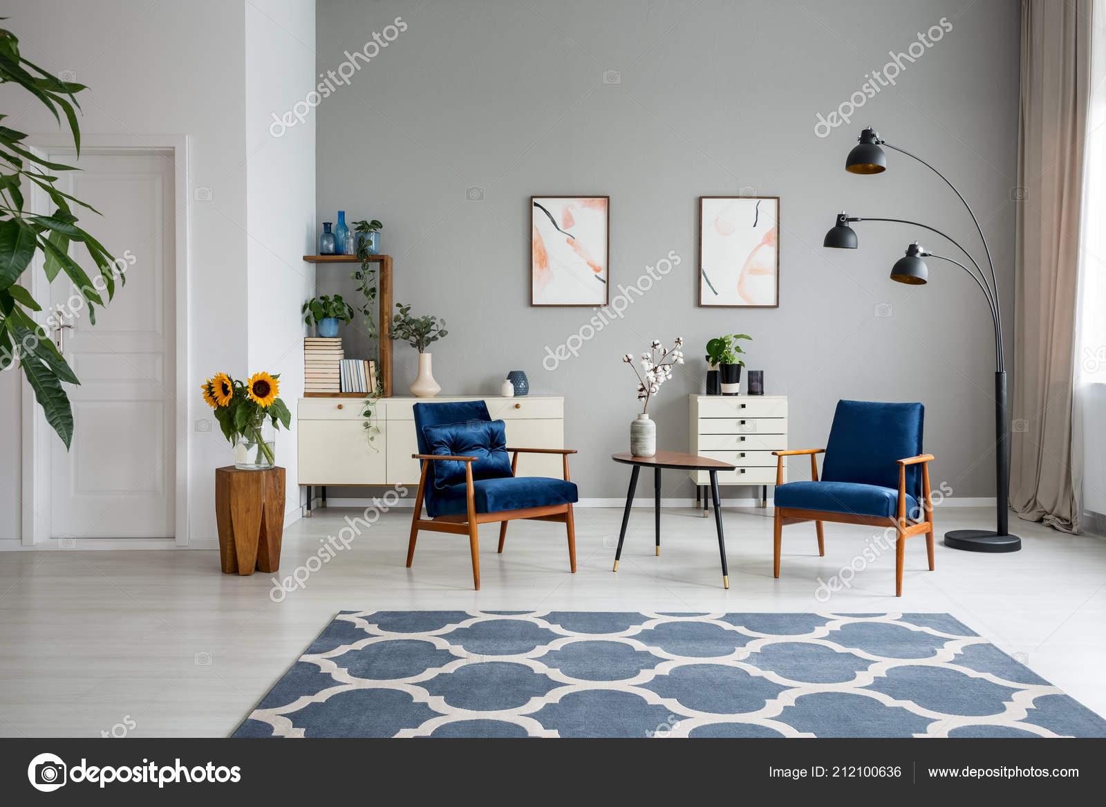 navy blue kitchen rugs large sinks 有图案的蓝色地毯和木制扶手椅宽敞平坦的室内有海报和鲜花真实照片 图库 有图案的蓝色地毯和木制扶手椅宽敞平坦的室内有