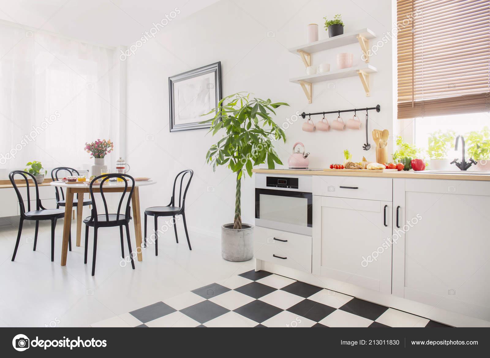 small kitchen table set chalkboard for wall 餐桌上的黑色椅子上有白色扁平的花朵旁边是小厨房的植物真实照片 图库 餐桌上的黑色椅子上有白色扁平的花朵旁边是小厨房的