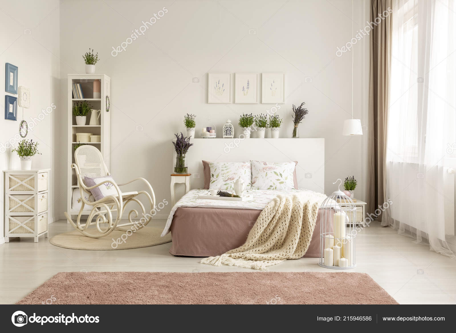 bedroom rocking chair indoor swing uk next bed blanket spacious white interior pink stock photo