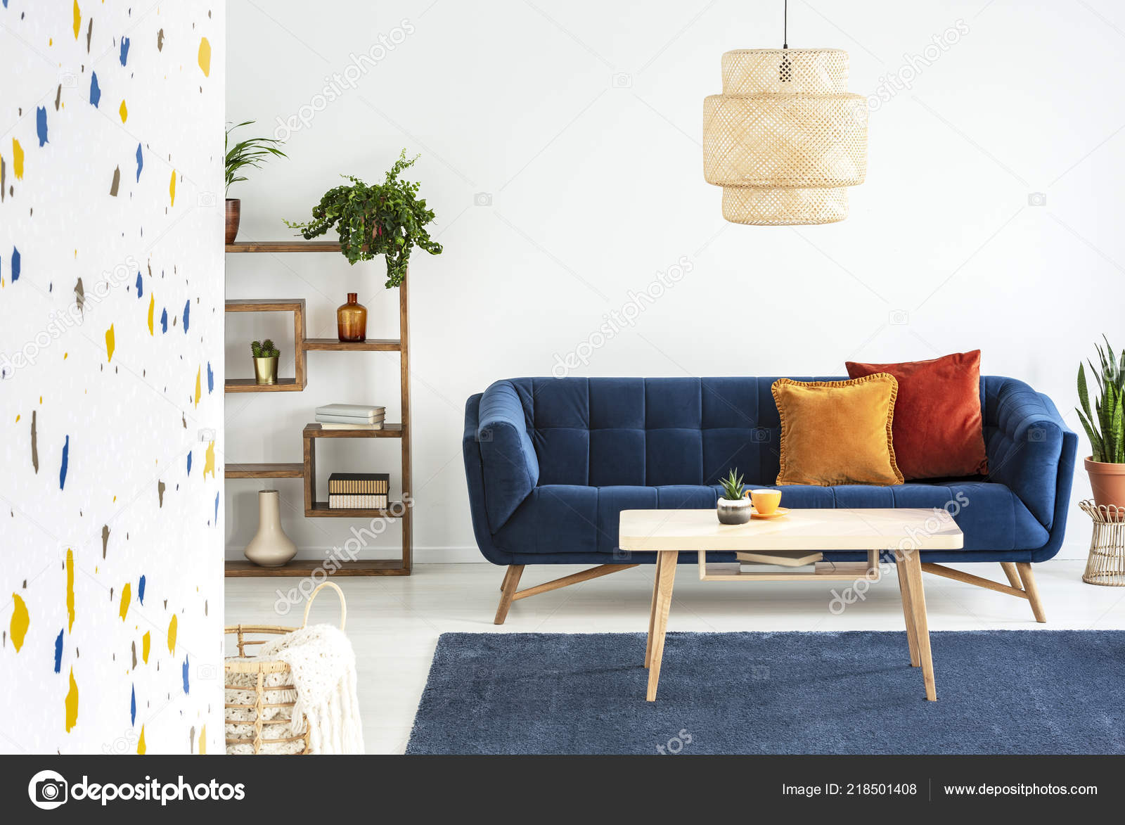 living room cushions ideas with black leather sofas lamp wooden table front blue sofa colorful stock photo