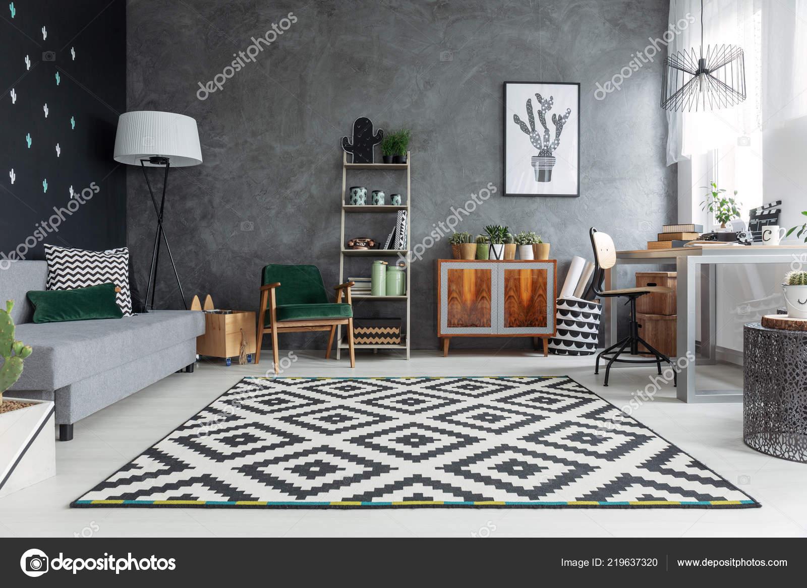 dark grey living room carpet cushion interior texture wall patterned retro stock photo