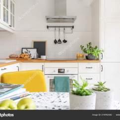 Kitchen Magazines Builders Surplus & Bath Cabinets Close Table Fruit Plants Bright Interior Cupboards Background Stock Photo