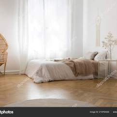 Bedroom Chair With Blanket Coleman Sling Rattan Peacock Next Window White Interior Bed Stock Photo