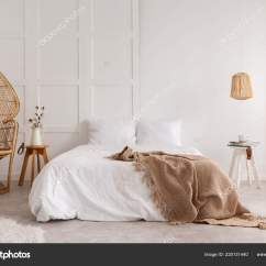 Bedroom Chair With Blanket Cost Of Renting Tables And Chairs For Wedding Rattan Wooden Table Next Bed Brown White Stock Photo