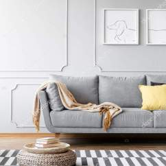 Living Room Pouf Modern Farmhouse Rug Carpet Simple Interior Posters Grey Couch Blanket Stock Photo
