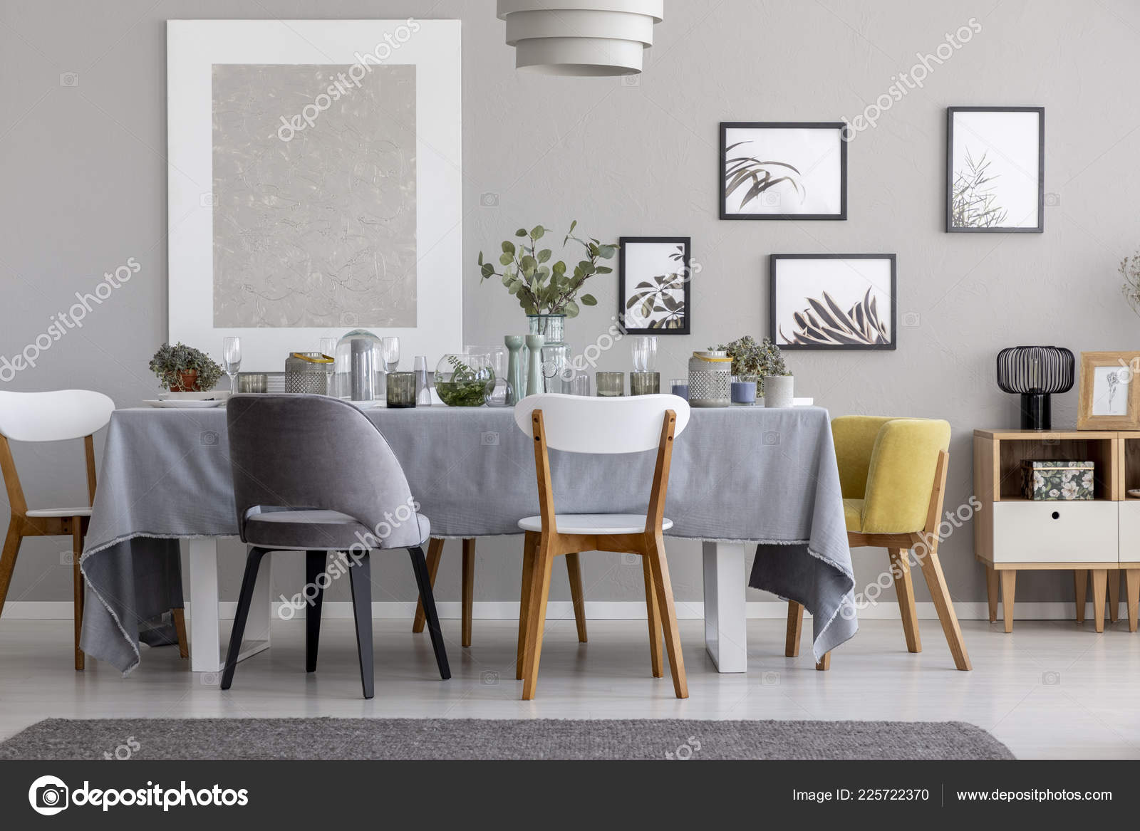 Grey And Yellow Chair White Grey Yellow Chair Table Tableware Dining Room Interior