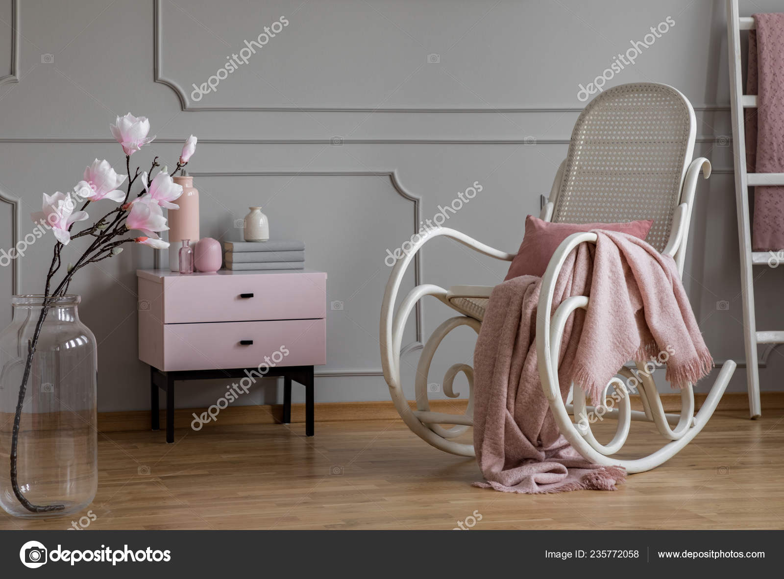 Flowers Rocking Chair Blanket Grey Pink Living Room Interior Cabinet Stock Photo C Photographee Eu 235772058