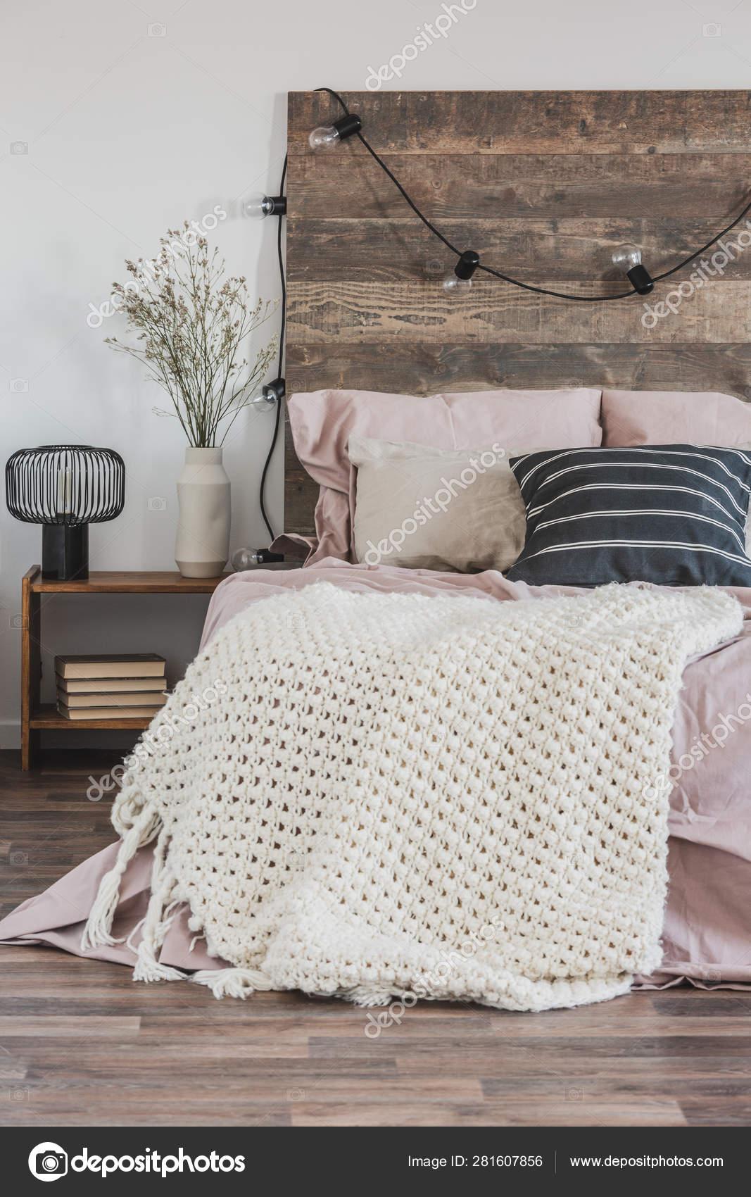 Beautiful Bedroom Interior With King Size Bed Wooden Headboard Stock Photo C Photographee Eu 281607856