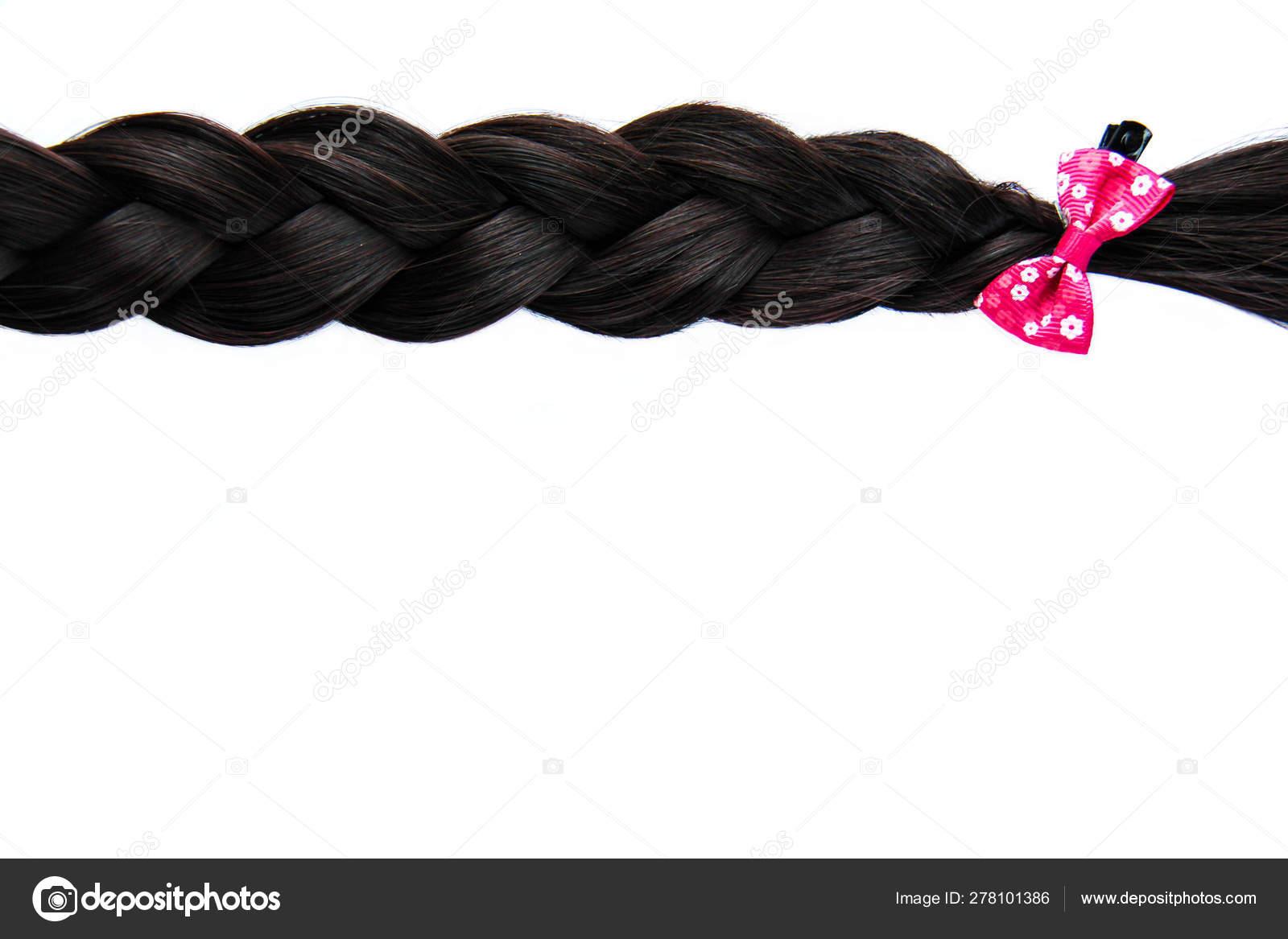 Black Dark Braided Hair Pink Bow Isolated White Background