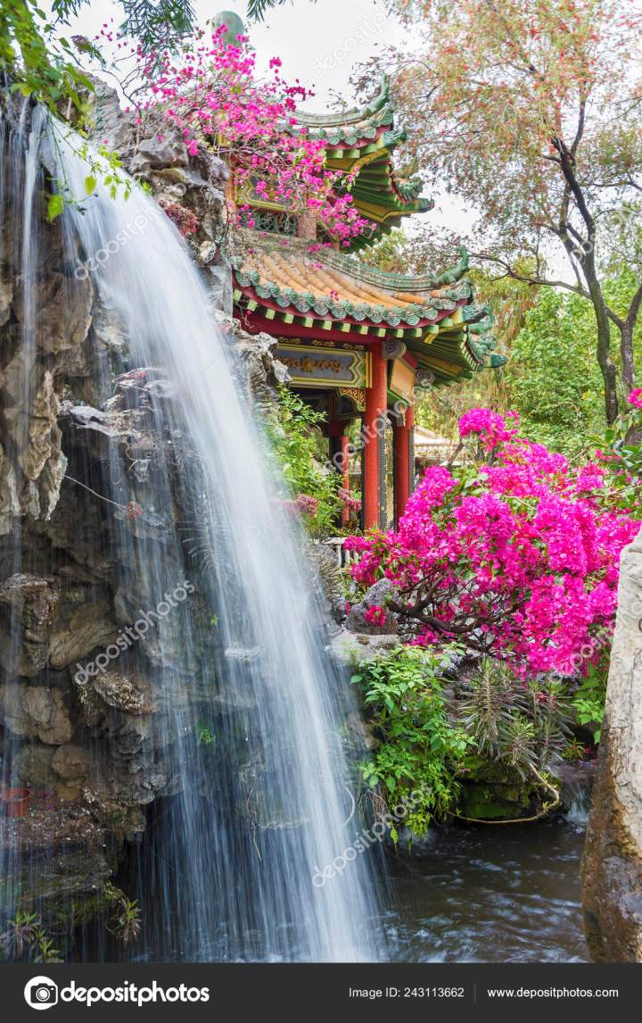 pavilion waterfall oriental garden hong kong china – stock