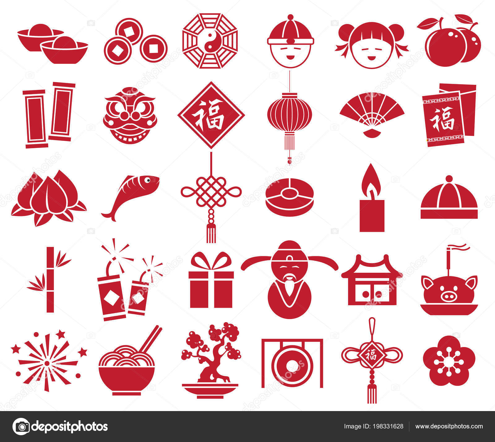 Chinese New Year Icon Sign Symbol Set Vector Red Color