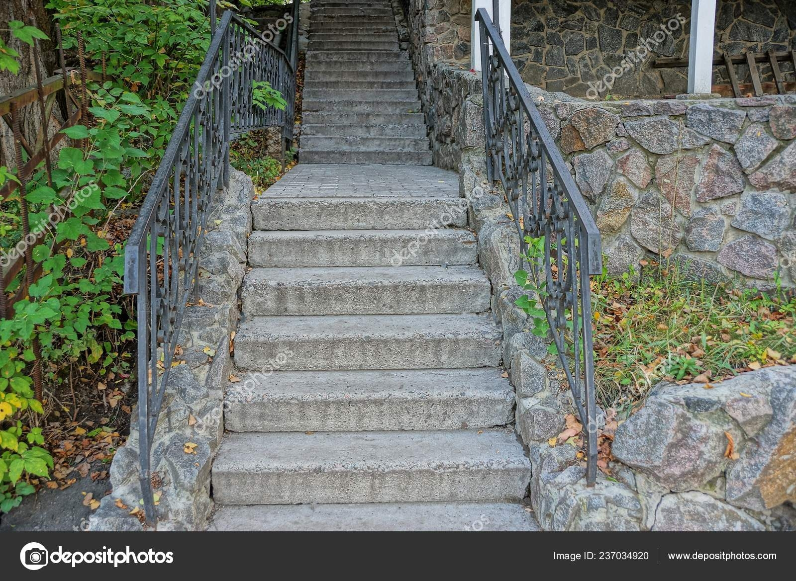 Stone Gray Steps Old Concrete Stairs Handrails Green Vegetation   Handrails For Concrete Steps   Concrete Surface Mount Stair Railing   Back Patio   Premade   Landing   Deck Stair