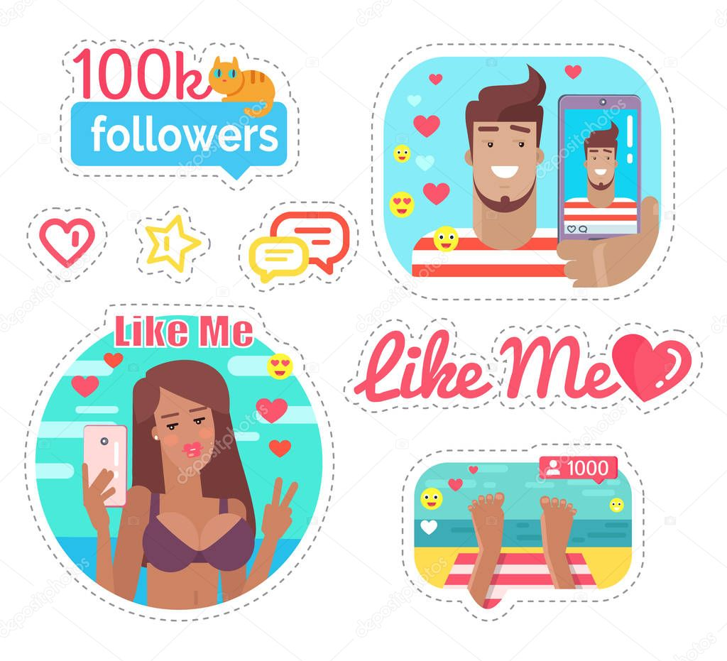Blogger Woman And Man On Vacation Stickers Set Vector Emoji And Heart Chatting Box And Star Kitty Sitting On Followers Banners Streaming Online Premium Vector In Adobe Illustrator Ai Ai