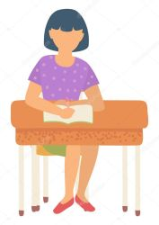 ✅ Girl sitting by desk vector flat style character isolated schoolgirl with home assignment solving tasks School education student in college studying Back to school concept Flat cartoon premium vector in Adobe