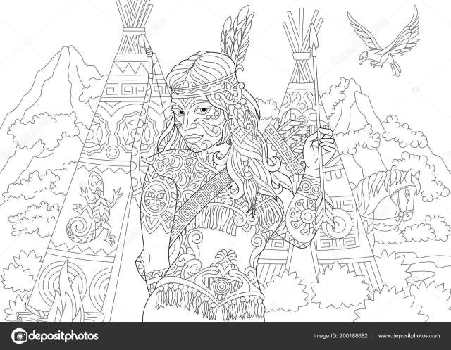 Native American Indian Apache Woman Coloring Page Colouring