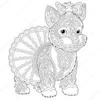 Zentangle Yorkshire Terrier Hund Malvorlagen — Stockvektor ...