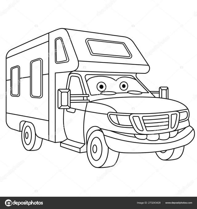 Coloring page with house on wheels rv trailer Stock Vector Image