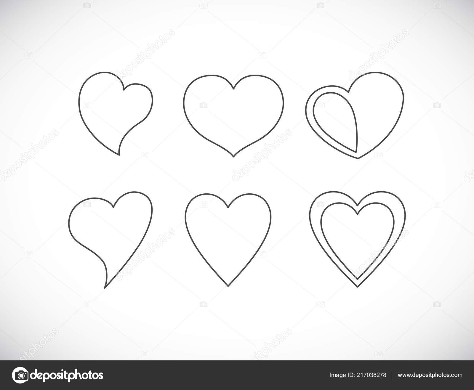 Heart Shape Outline Icon Set Stock Vector C Igarts 217038278