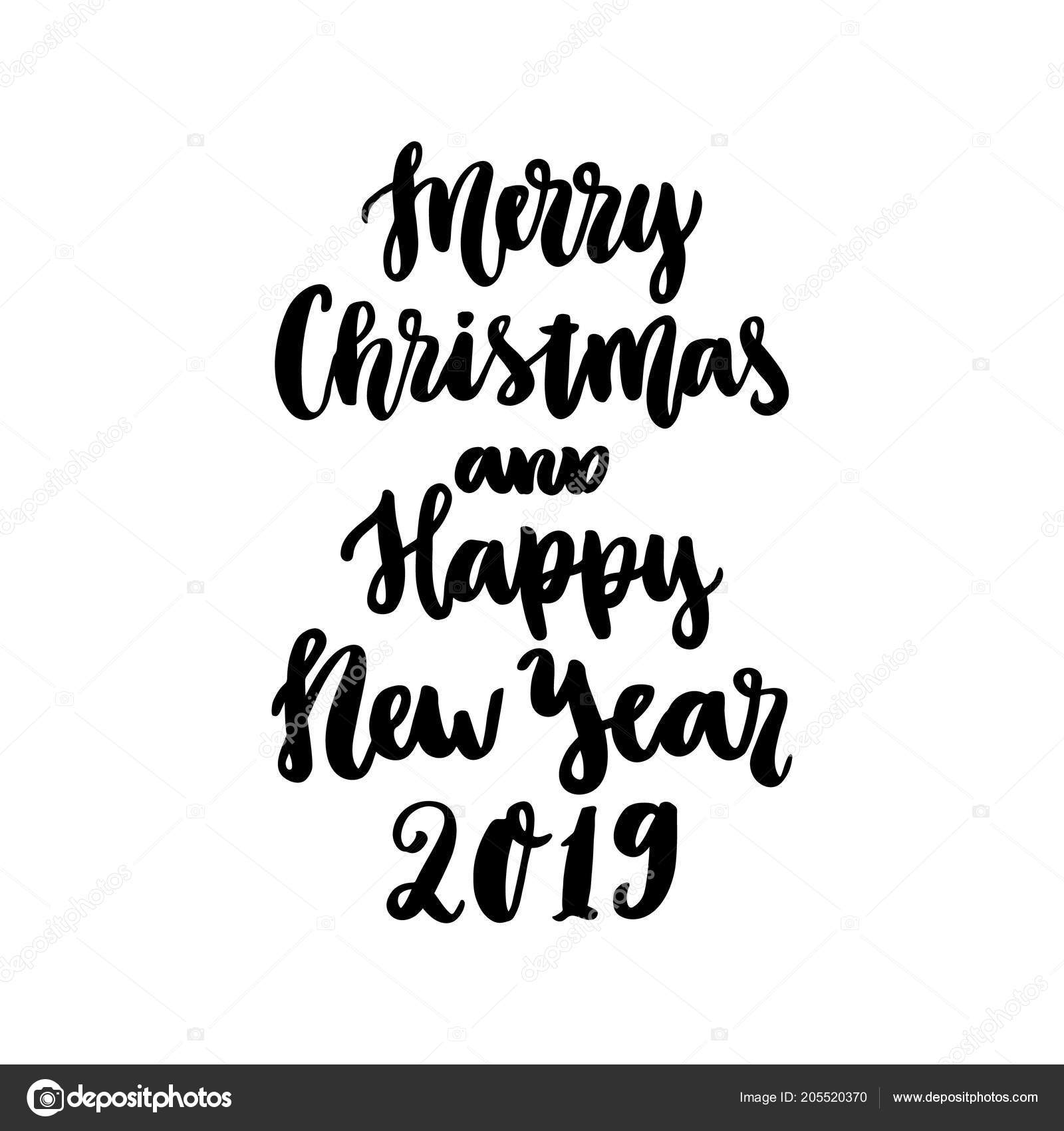 Hand Drawing Quote Merry Christmas Happy New Year