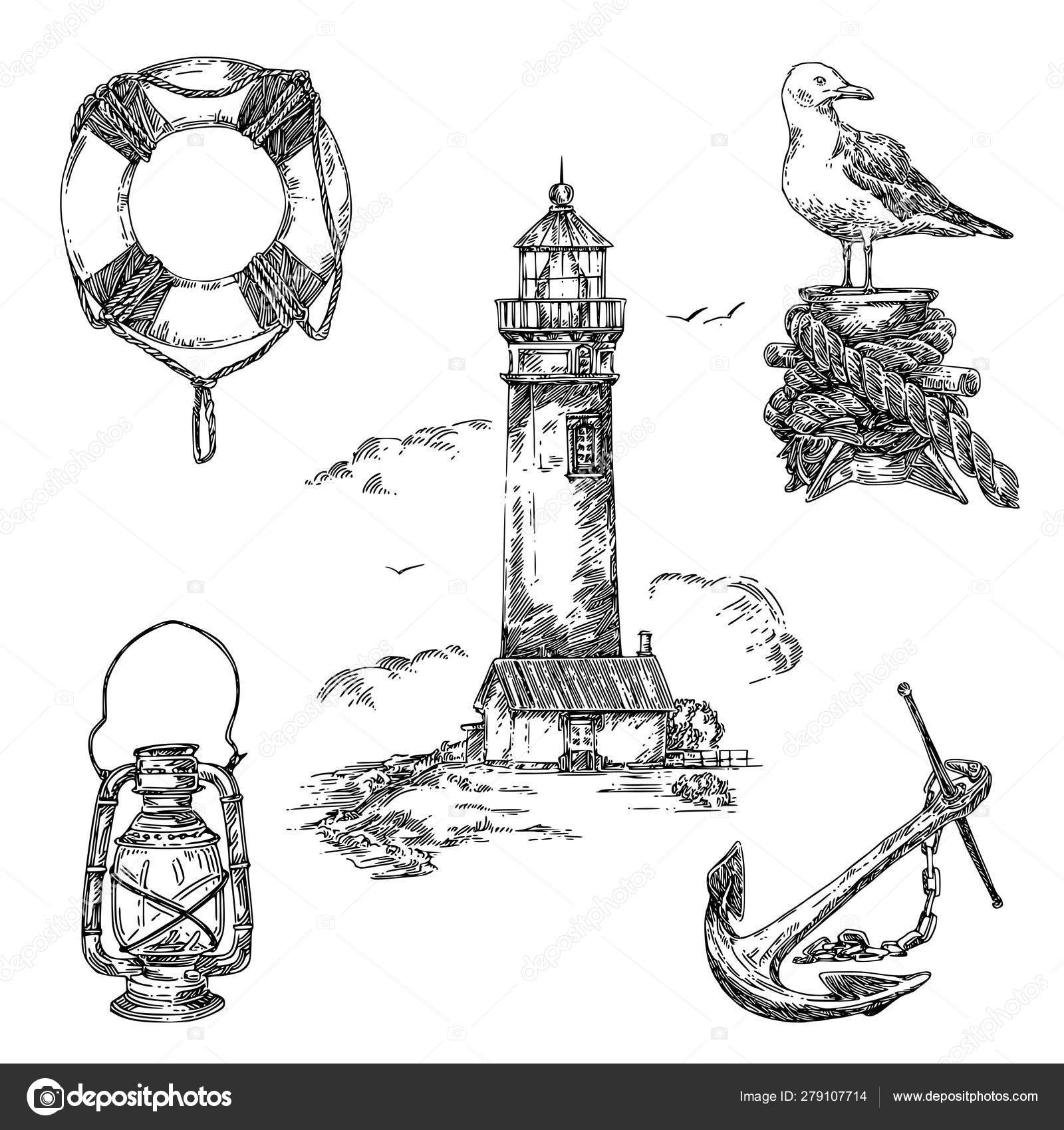 Vintage Nautical Set Lifebuoy Old Lantern Lighthause Seagull And Anchor Stock Vector Kseniakr 279107714