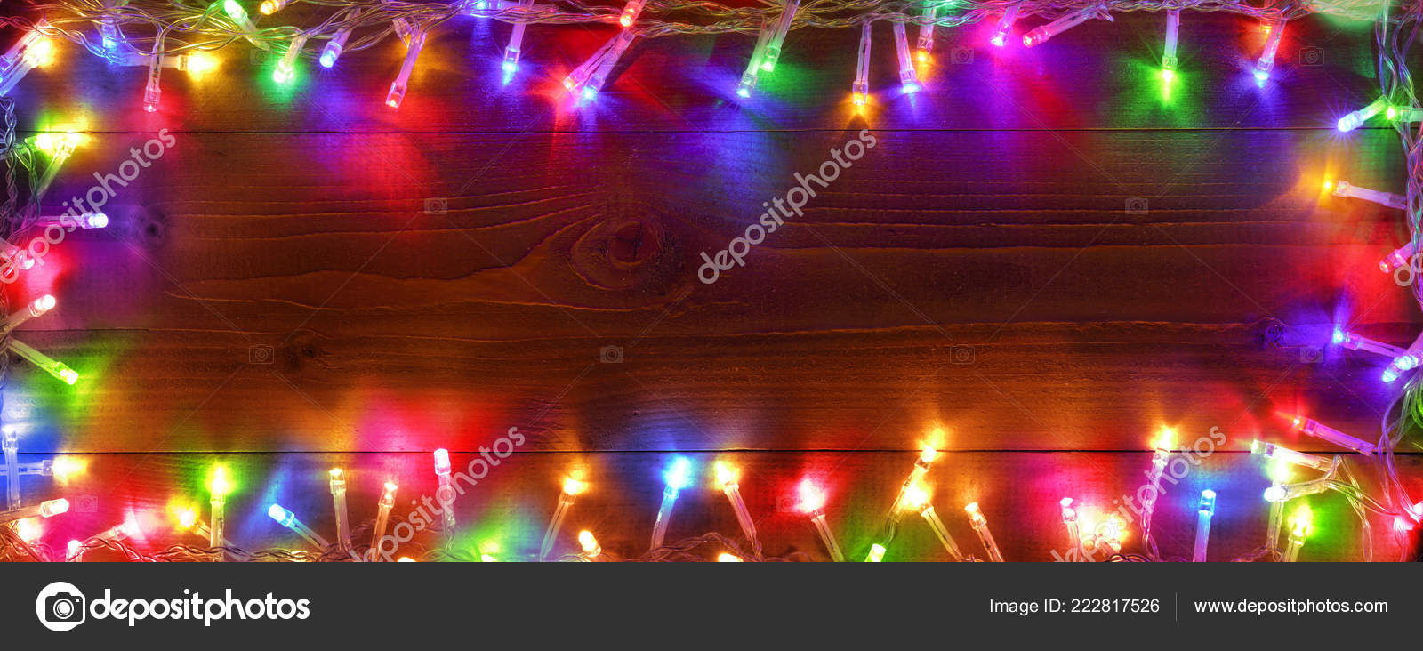 colorful string lights wooden