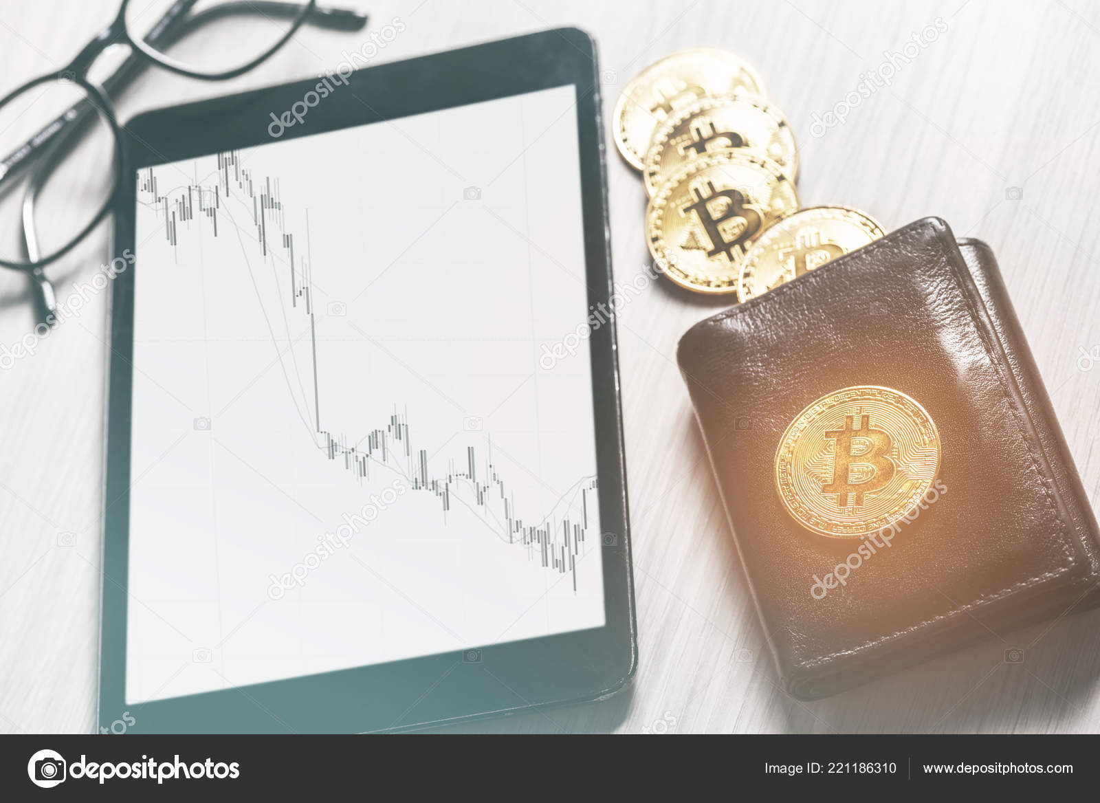 hight resolution of symbol virtual money bitcoins purse digital tablet financial diagram business stock photo