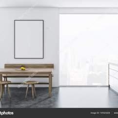 Bench For Kitchen Table Pre Built Outdoor Islands 斯堪的纳维亚风格的餐厅和厨房角落与全景窗口一张桌子木椅和长凳附近和 斯堪的纳维亚风格的餐厅和厨房角落与全景窗口 一张桌子 木椅和长凳附近和台面 城市风景 3d 渲染样板架海报