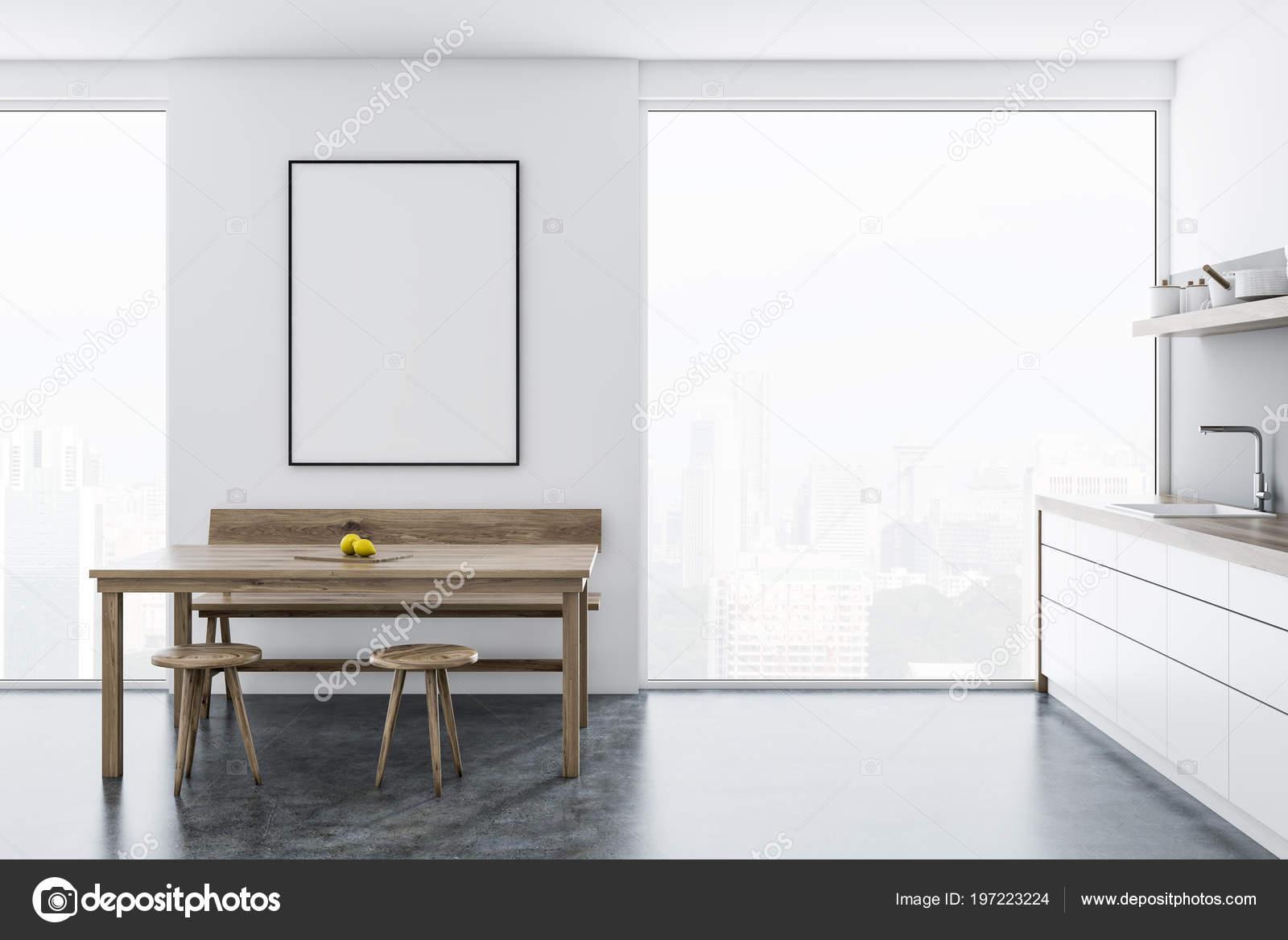 kitchen banquettes for sale kohler undermount sinks 斯堪的纳维亚风格的餐厅和厨房角落与全景窗口一张桌子木椅和长凳附近和 斯堪的纳维亚风格的餐厅和厨房角落与全景窗口 一张桌子 木椅和长凳附近和台面 城市风景 3d 渲染样板架海报