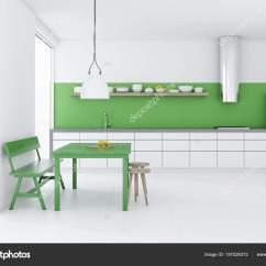 Kitchen Banquette Aid Cooktop 白色餐厅和厨房阁楼的窗户绿色的桌子椅子和长凳白色台面和一个冰箱渲染 白色餐厅和厨房阁楼的窗户绿色的桌子椅子和长凳白色台面