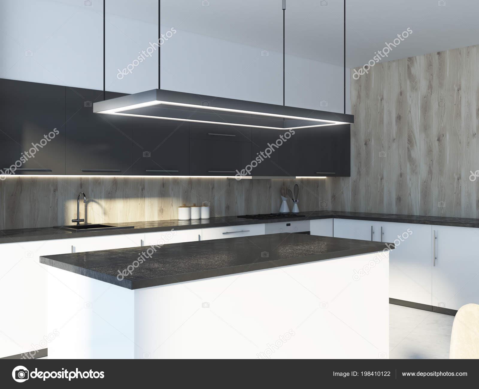 grey kitchen island prefabricated outdoor 黑色厨房岛站在白色和灰色的台面在一个木墙厨房内部渲染模拟 图库照片 黑色厨房岛站在白色和灰色的台面在一个木墙厨房内部