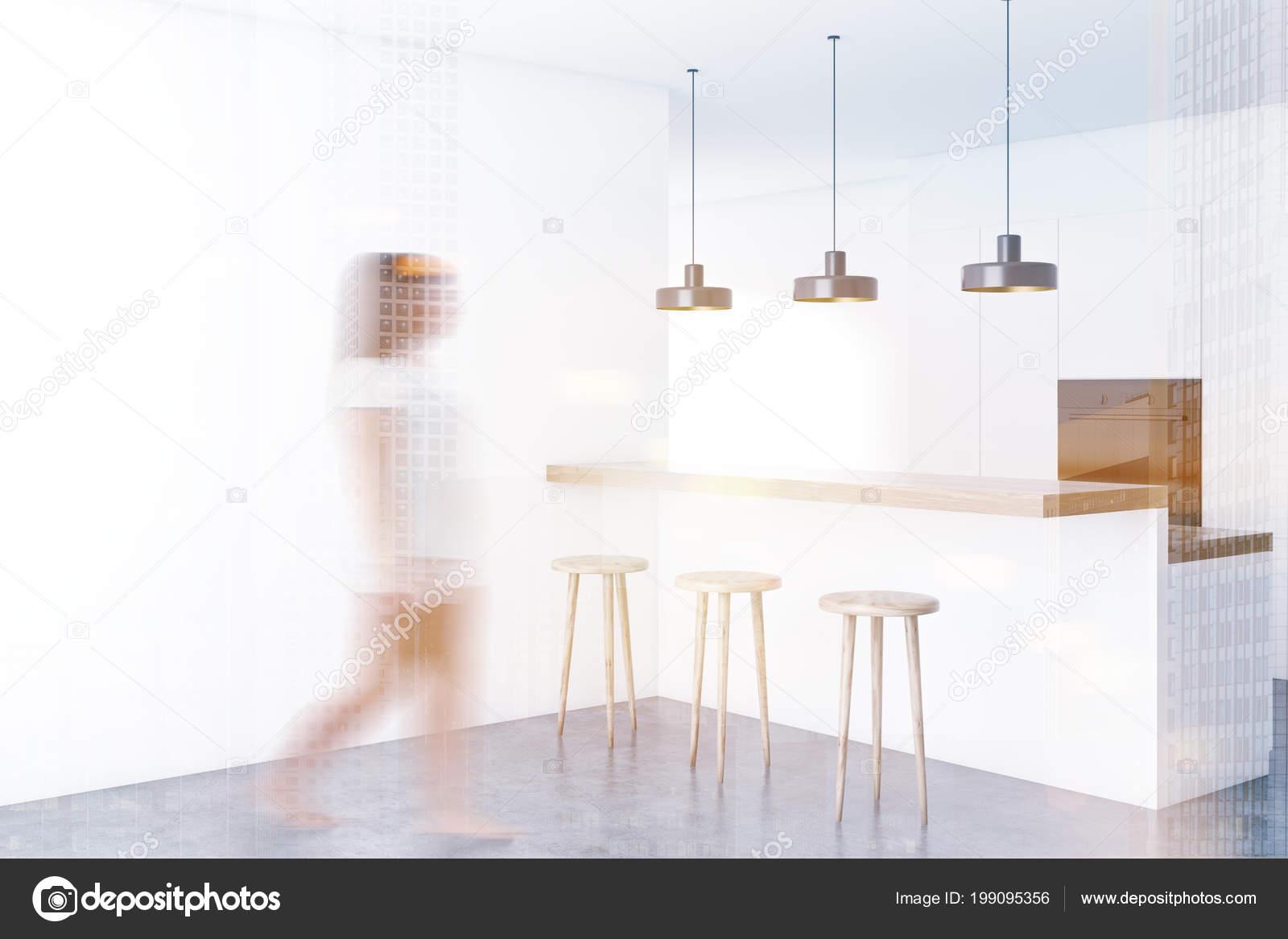 hanging kitchen light porcelain floor 厨房角落里有白色的墙壁一层水泥地板一条有凳子的白色酒吧上面挂着一排灯 厨房角落里有白色的墙壁 一层水泥地板 一条有凳子的白色酒吧 上面挂着一排灯 一个女人在走路 3d 渲染模拟色调图像双曝光模糊