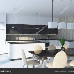Black Kitchen Tables Stainless Steel Cabinets 黑色厨房岛站在白色和灰色的台面在一个木墙厨房内部一张有米色椅子的桌子 黑色厨房岛站在白色和灰色的台面在一个木墙厨房内部 一张有米色椅子的桌子 3d 渲染模拟 照片作者denisismagilov