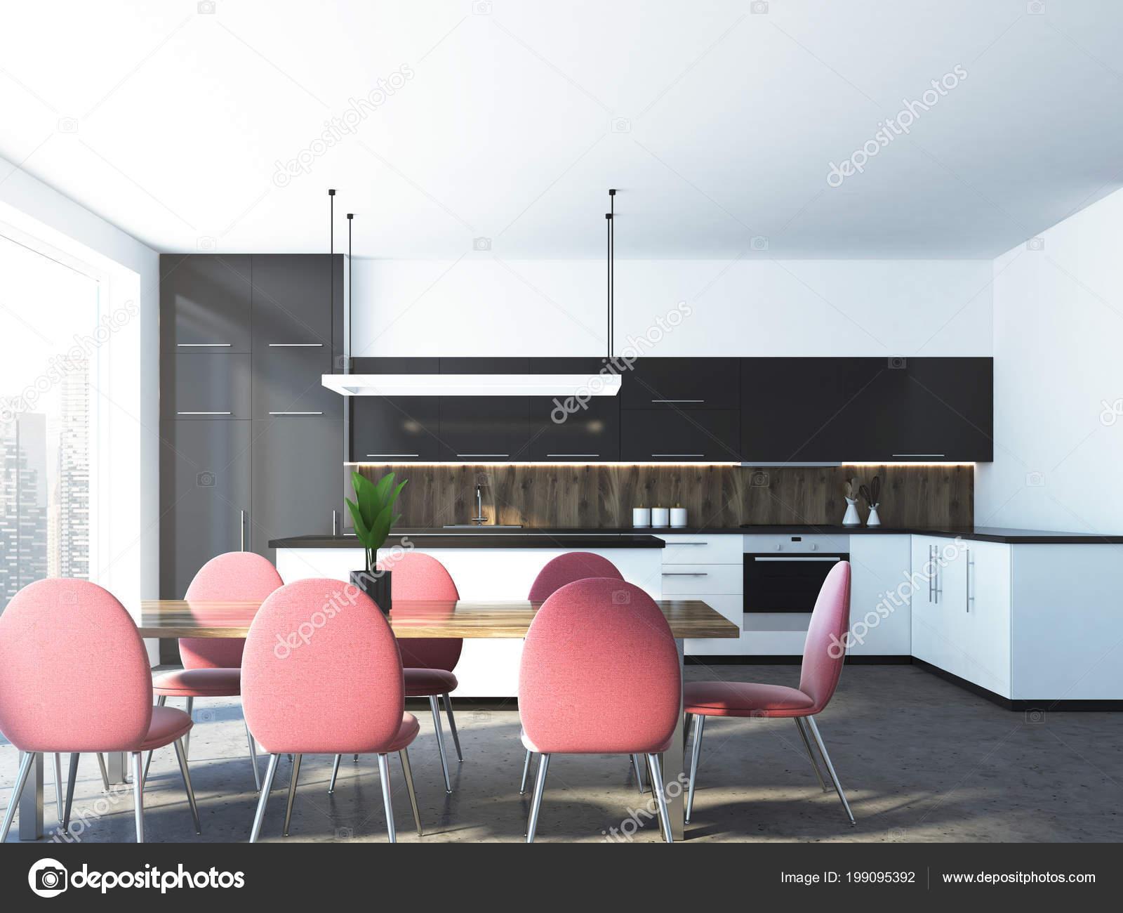 kitchen table nook rustic art 粉红色的椅子站在一张餐桌上房间里有全景窗户和厨房角落一个特写渲染模拟 粉红色的椅子站在一张餐桌上 房间里有全景窗户和厨房角落 一个特写 3d 渲染模拟 照片作者denisismagilov