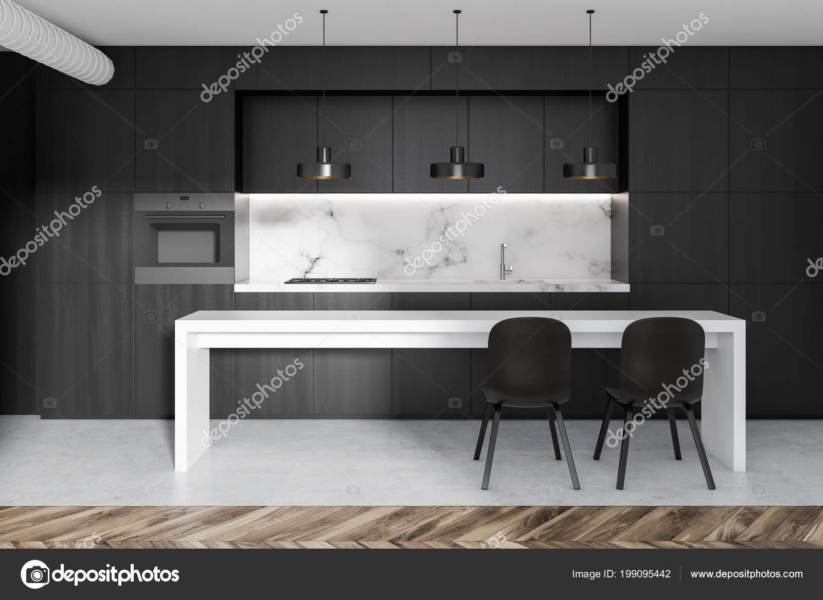 built in kitchen table butterfly undermount sinks 黑色和大理石厨房内饰与黑色台面与内置的家电和一个白色的狭窄桌子与椅子 3d 渲染模拟 照片作者denisismagilov