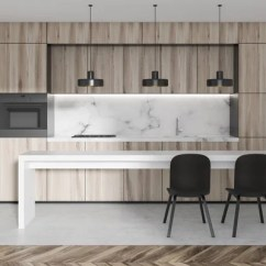 Built In Kitchen Table Wall Shelf 黑色和大理石厨房内饰与黑色台面与内置的家电和一个白色的狭窄桌子与椅子 大理石厨房内饰与木台面与内置