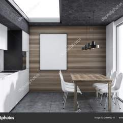Built In Kitchen Table Outdoor Faucet 大理石厨房内饰与白色橱柜一个内置的烤箱一个木制的桌子和白色的椅子木墙 大理石厨房内饰与白色橱柜一个内置的烤箱一个木制的桌子