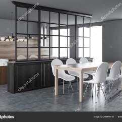 Concrete Kitchen Table Embroidered Towels 木制和灰色的厨房和饭厅内部有一个混凝土地板一张木制桌子椅子和阁楼的 木制和灰色的厨房和饭厅内部有一个混凝土地板 一张木制桌子 椅子和阁楼的窗户 3d 渲染模拟 照片作者denisismagilov